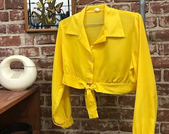 70s Crop Top Cotton Long Sleeve Canary Yellow Poet Sleeves Vintage Seventies 1970s Size Medium.