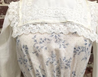 70s Victorian Cotton Dress Size Extra Small Vintage Seventies 1970s