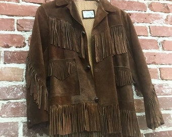 70s Men's Suede Fringe Jacket Neil Young Seventies 1970s Men's Extra Small Women's Small Vintage