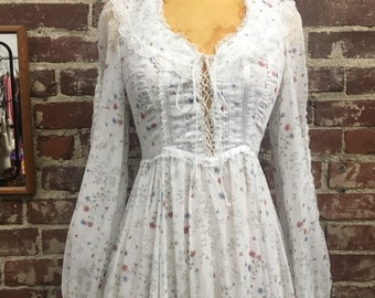 70s Gunne Sax Victorian Cotton Gown Size 5 Size Extra Small Petite Seventies 1970s