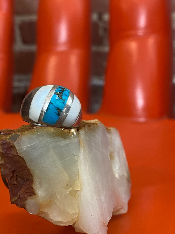 Mens 70s Turquoise Mother of Pearl and Sterling Silver Ring