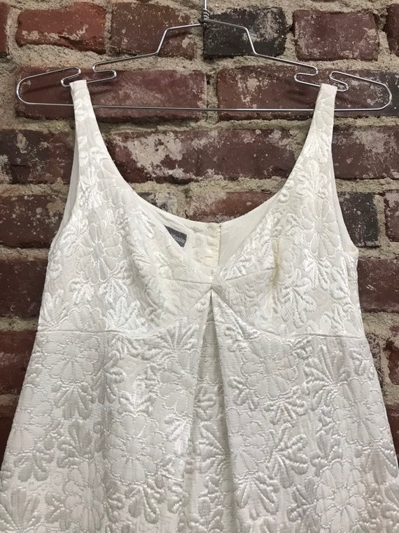 60s Crisp White Brocade Quilted Cocktail Dress