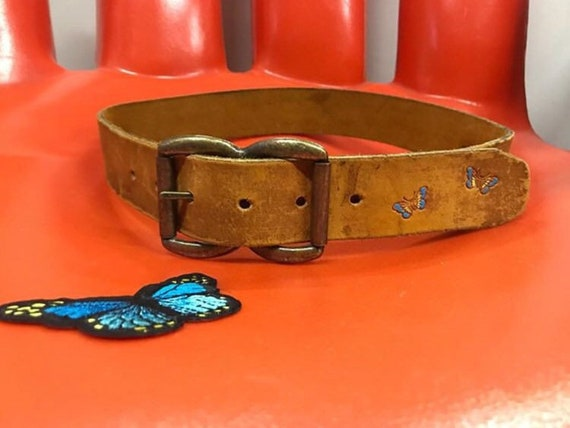 70s Butterfly Embossed Hand Painted Leather Belt Vintage Seventies 1970s
