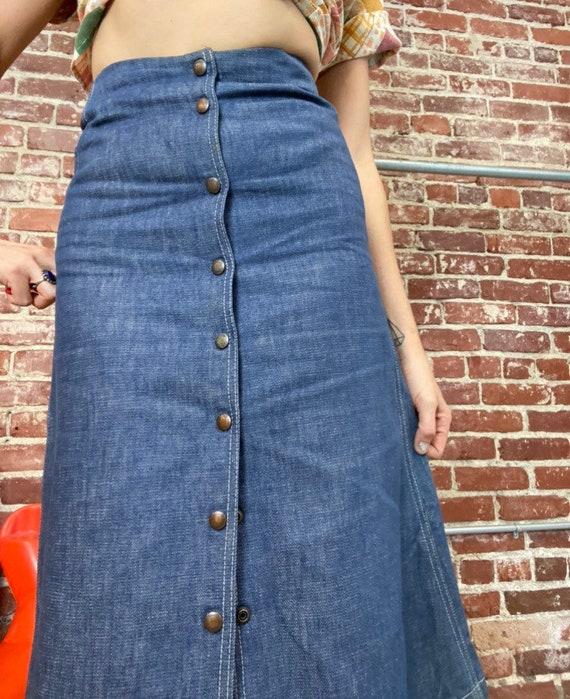 """70s Snap Button Denim Skirt 25"""" Waist - image 5"""