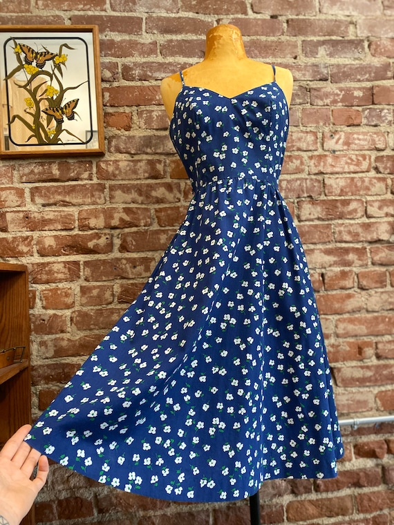 70s Floral Cotton Sun Dress With Pockets By Lanz
