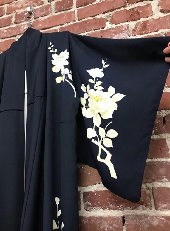 40s Kimono Black Silk From Japan