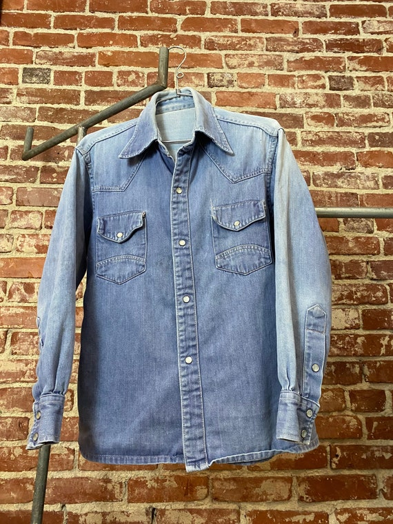70s Men's Ombré Denim Snap Button Shirt