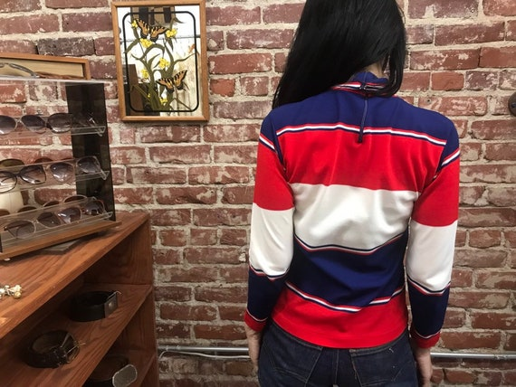 70s Red White And Blue Mod Striped Turtleneck