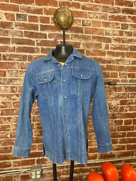70s Men's Denim Snap Button Shirt Cut Jacket