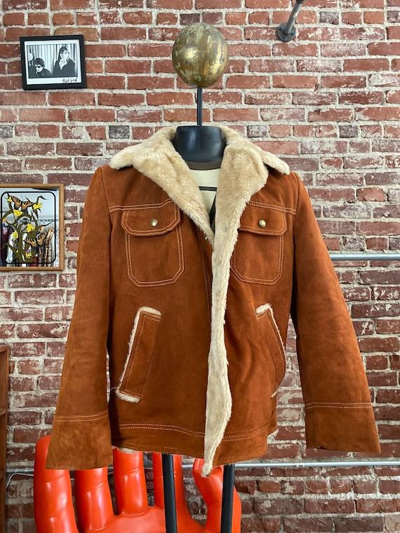 70s Men's Burnt Orange Suede Sherpa Jacket Size Large