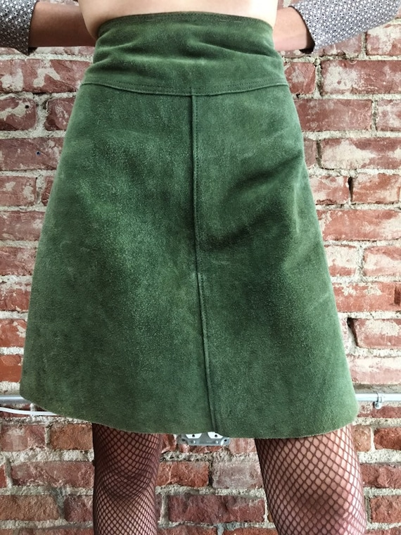 "70s Green Suede A Line Skirt. By Culbertson Portland Oregon Vintage Seventies 1970s Size Medium 27"" Waist"