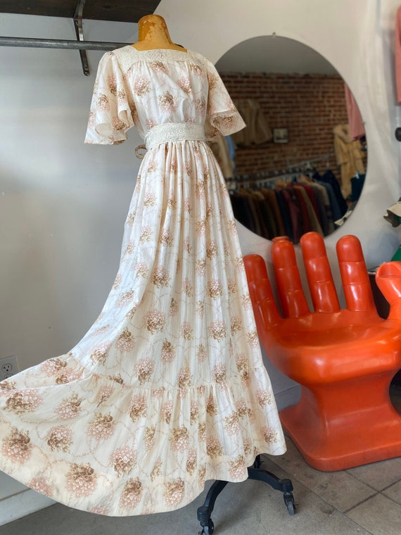 70s Cotton Ivory Gown with Butterfly Sleeves and Cotton Lace Details