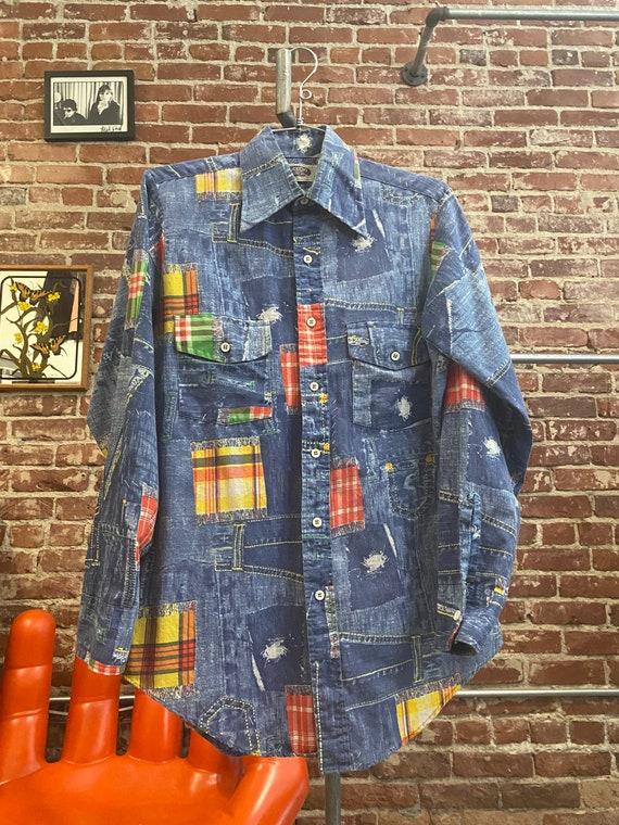 70s Men's Patchwork Print Button Up Shirt