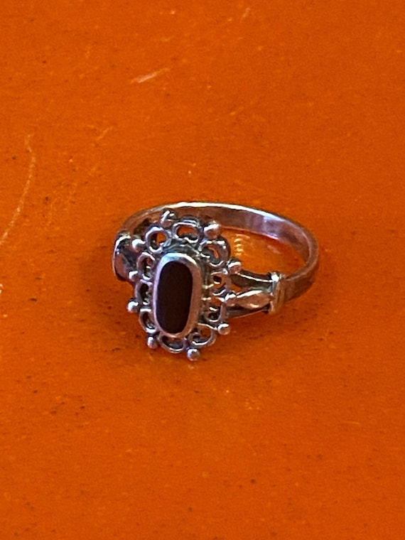 70s 925 Sterling Silver & Onyx Ring