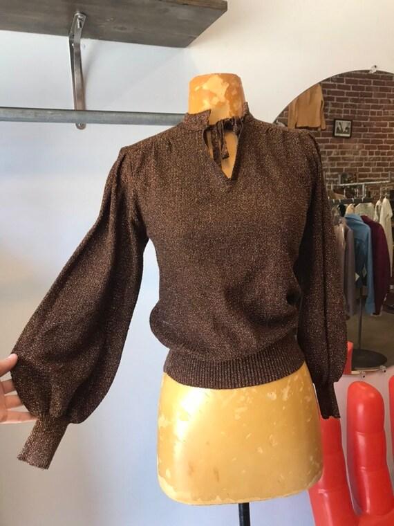 70s Bronze Metallic Acrylic Sweater
