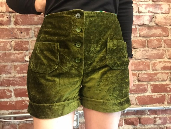 70s Olive Green Crushed Velvet Hi Waisted Hot Pants
