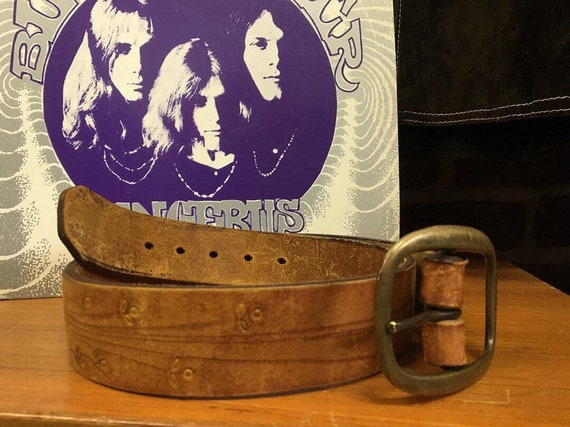 "70s Embossed Brass Buckle Belt Vintage 29"" to 32"" Waist"