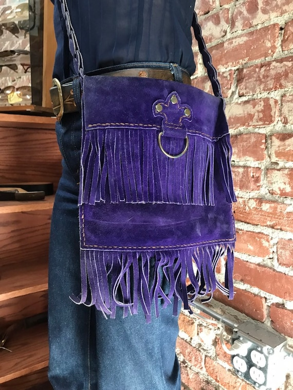 70s Fringe Purple Suede Long Strap Purse Rare Vintage