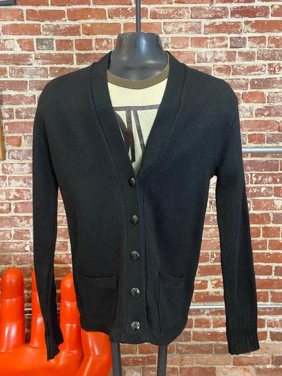 70s Men's Black Cardigan Sweater