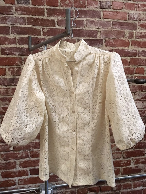 70s Ivory Sheer Lace Exaggerated Balloon Sleeve Blouse