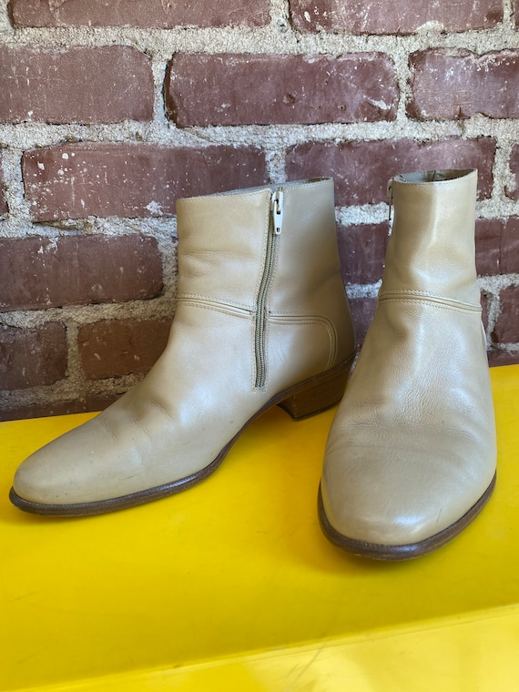 70s Men's Ivory Leather Zip Up Boots Size 9M