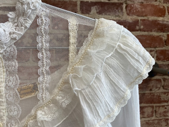 70s Gunne Sax White Cotton Victorian Blouse - image 6