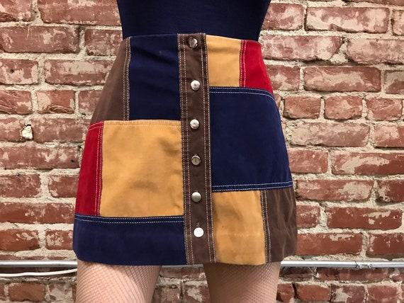 70s Patchwork Vegan Ultra Suede Mini Skirt Vintage