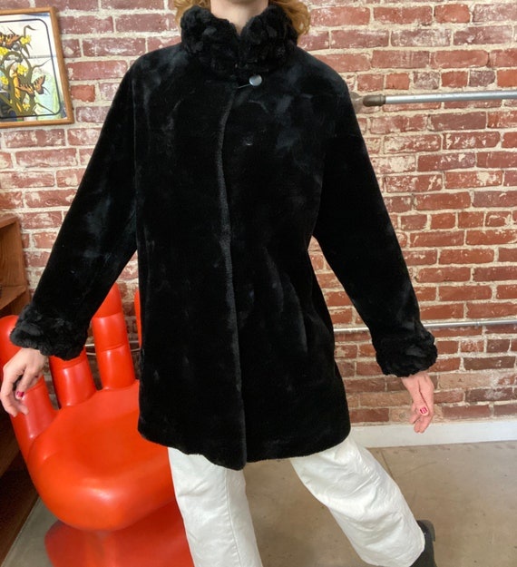 70s Inky Black Faux Fur Coat