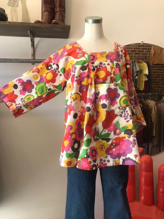 70s Cotton Open Back Smock Blouse