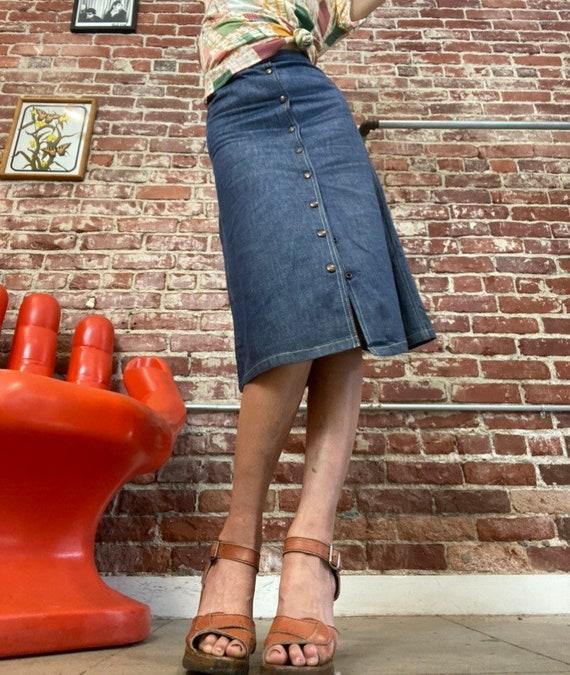"""70s Snap Button Denim Skirt 25"""" Waist - image 6"""