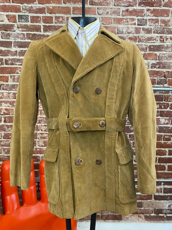 70s Men's Caramel Corduroy Belted Jacket Made in S