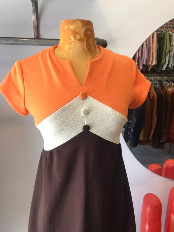70s colorblocked mini dress