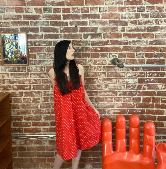 70s Red Cotton Calico Trapeze Prairie Dress