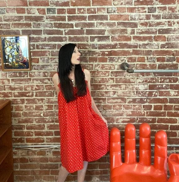 70s Red Cotton Calico Trapeze Prairie Dress
