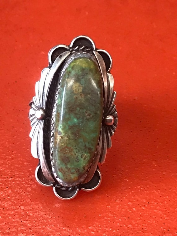 70s Royston Turquoise Art Nouveau Sterling Silver Ring Signed JM