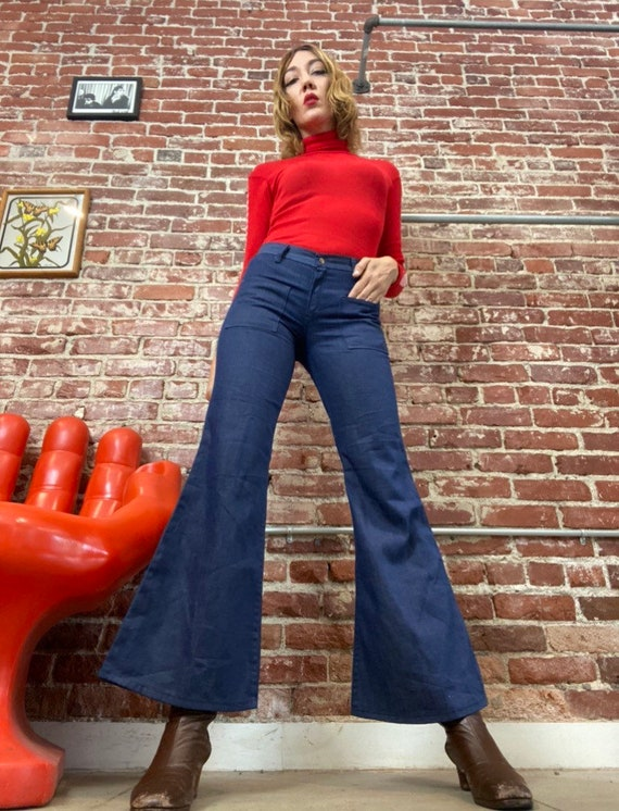 70s Wrangler Mid Rise Nautical Denim Flares