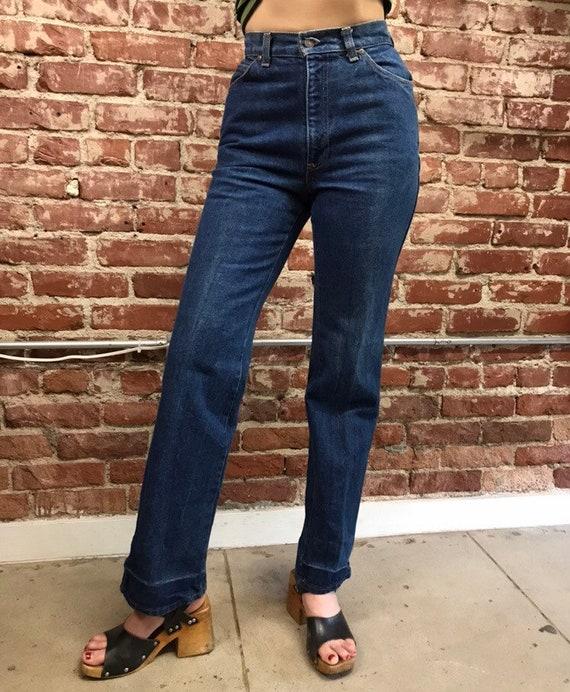 70s Levi's High Waist Strait Leg Dark Wash Jeans