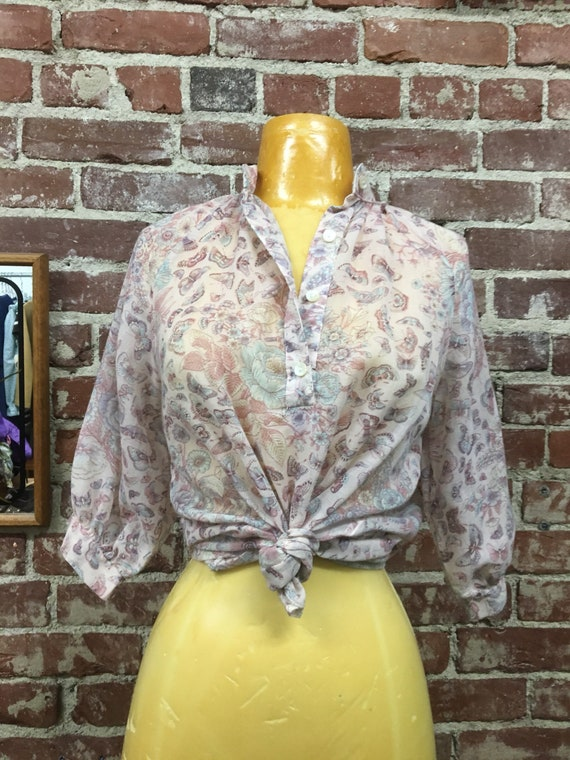 70s Sheer Cotton Butterfly Print Nehru Neckline Blouse Vintage Seventies 1970s Size Small to Medium