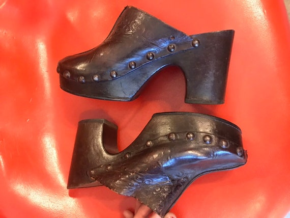 70s Made in Italy Studded Leather Embossed Platfor