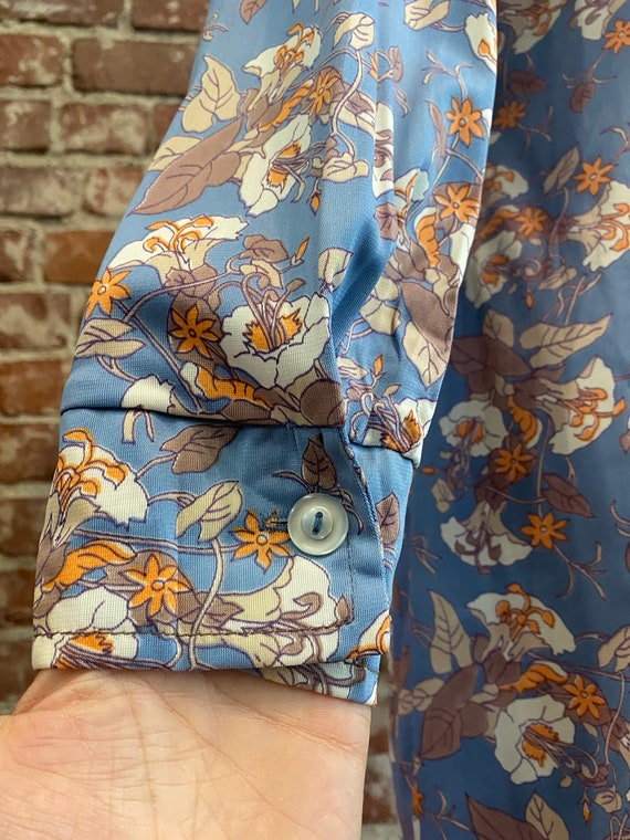 70s Floral Long Sleeve Mini Dress - image 6
