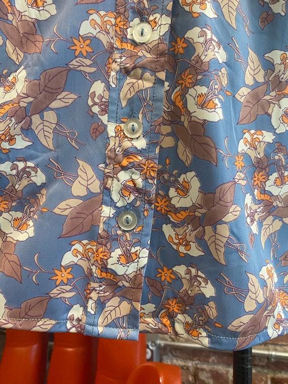 70s Floral Long Sleeve Mini Dress - image 7