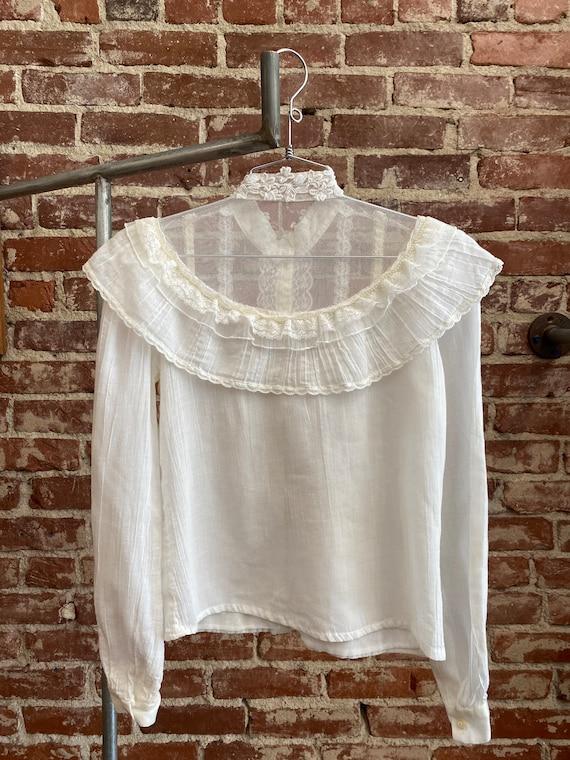 70s Gunne Sax White Cotton Victorian Blouse - image 5
