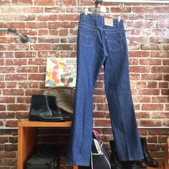 """70s Men's 517 Orange Tab Levi's Strait Leg Dead Stock NOS Dark Wash Jeans 33"""" waist by 35"""" inseam Seventies 1970s Vintage"""