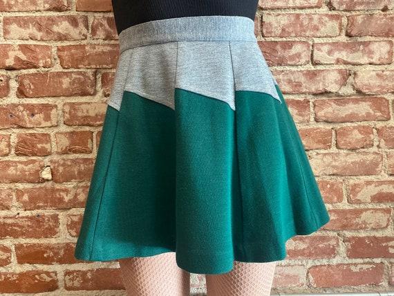 70s Color Block Zig Zag Mini Skirt