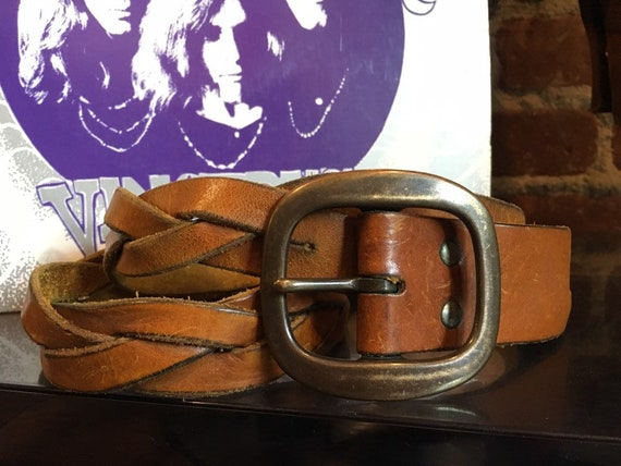"70s Braided Leather Brass Buckle Belt 34"" to 36"" Waist"