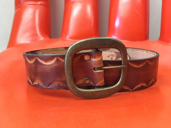 Late 60s The Kinks Village Green Embossed Leather Belt