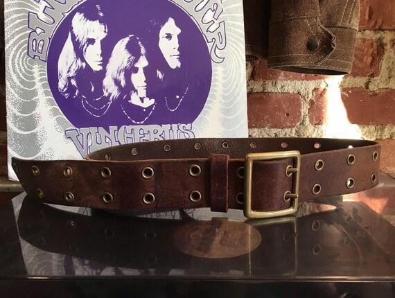 Early 70s Grommet Brass Buckle Brown Leather Belt