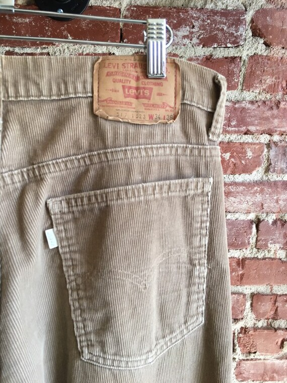 "70s Men's Levi's 517 Corduroy Tan Jeans 34"" Waist by 36"" Inseam"