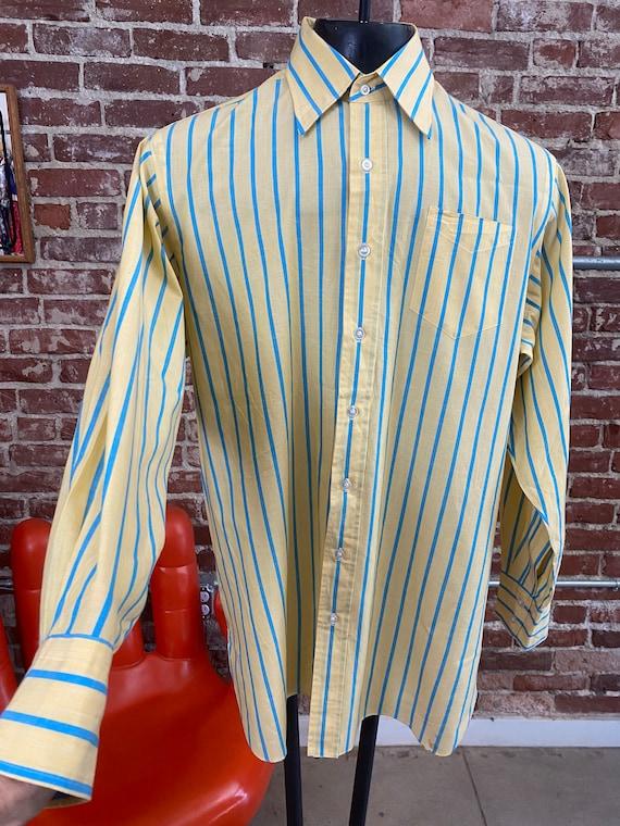 70s Men's Striped Dress Shirt Made in Japan Size XL