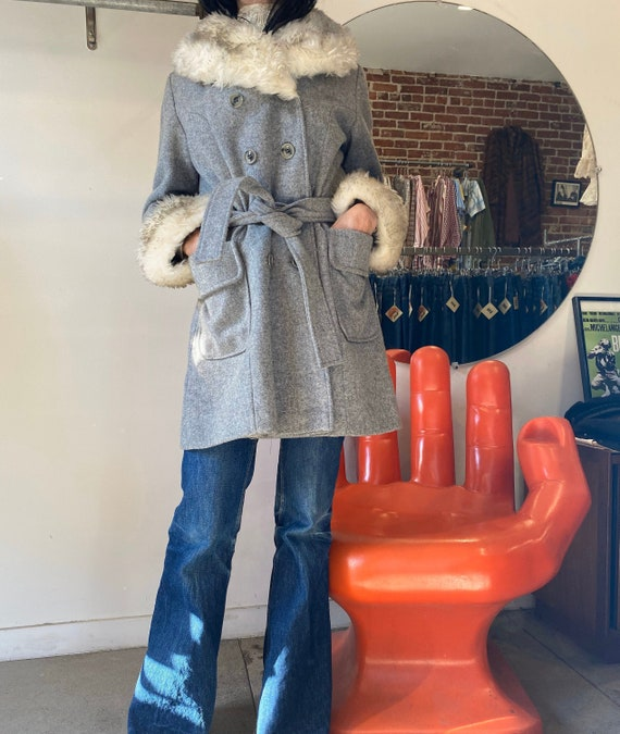 70s Wool Faux Fur Trimmed Belted Coat